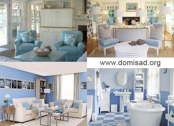 Бело-синий и бело-голубой дизайн интерьера, советы и идеи для использования.