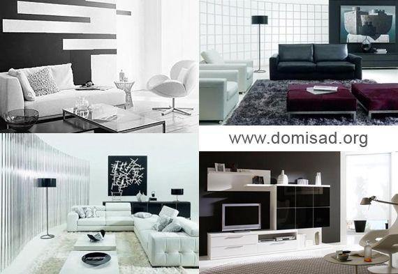 Черно-белый интерьер, дизайн комнаты в черно-белом цвете, фото.