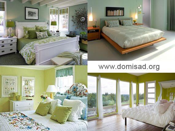 Дизайн интерьера спальной комнаты в зеленых тонах.