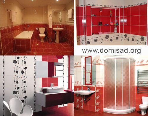 Красная ванная комната — дизайн интерьера ванных в красном, фото.