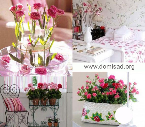 Нежные розовые цветы для дизайна интерьера в разных стилях, фото.
